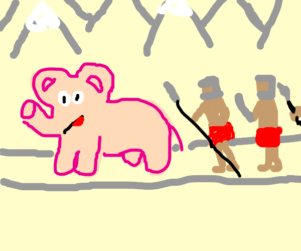 Hannibal crossing alps with pink elephants