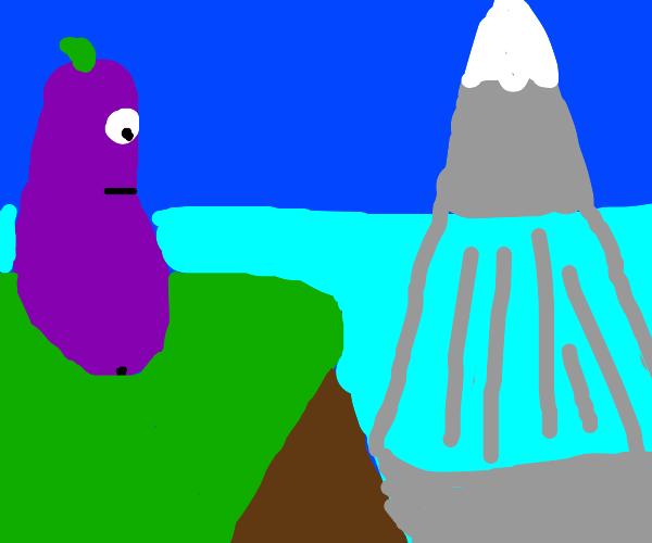 eggplant looks at underwater mountain