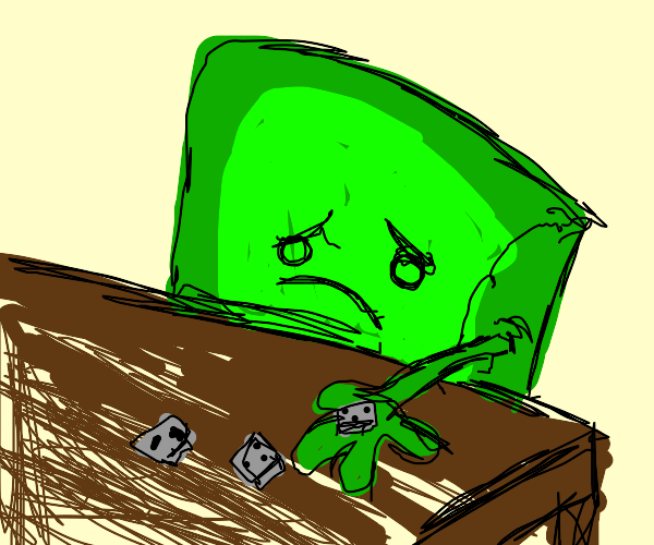 green square man playing dice alone