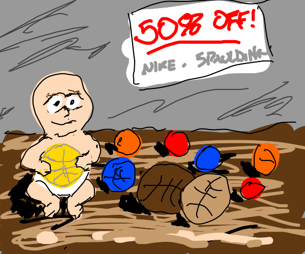 Baby selling basketballs at 50pc discount