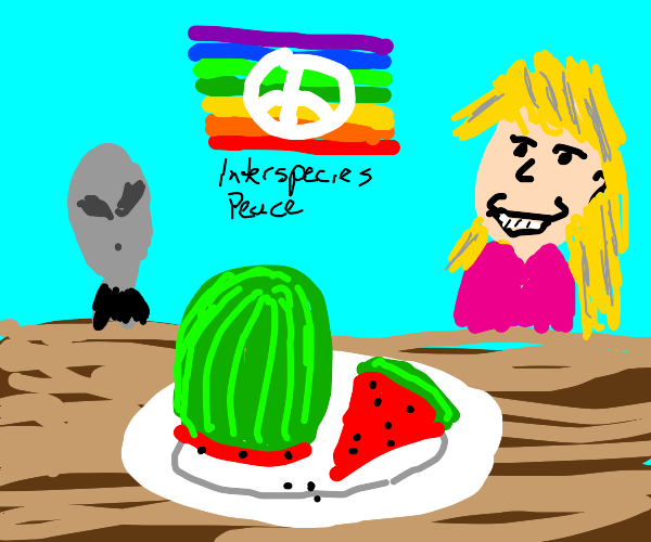 aliens n human find peace over watermelon