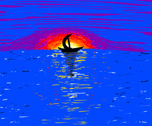 boat silhouette with v pretty sunset backdrop