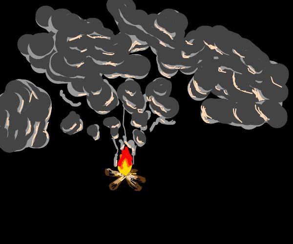 Campfire making a lot of smoke