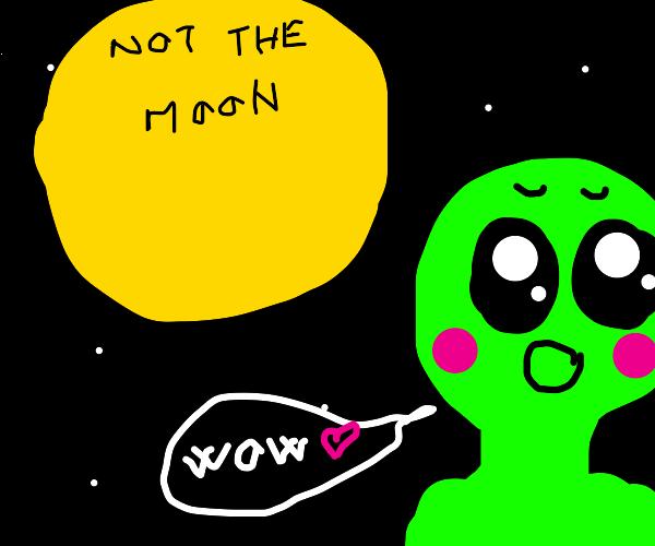 alien appreciates the sun beauty