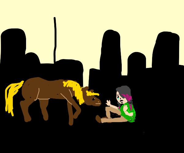 Emo horse girl in city