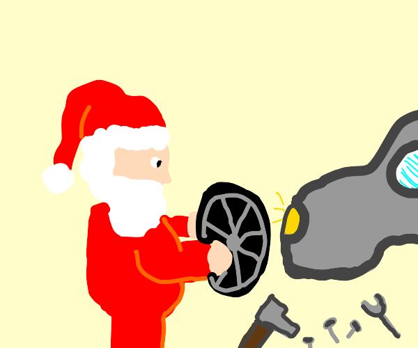 Santa building a car
