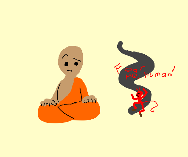 Monk sits before a demon emerging from smoke