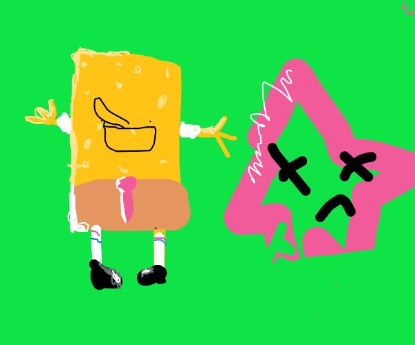 Spongebob & Patrick lying on leaves