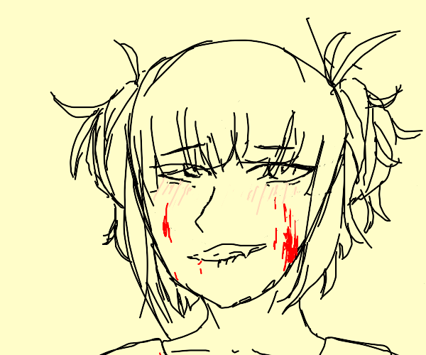 Anime girl with bloody cheeks
