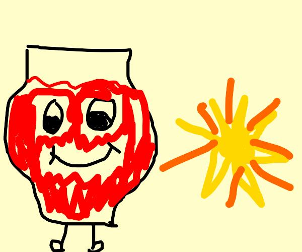 Koolaid man w/ crab hands is 8x size of sun