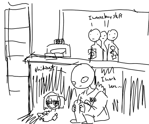 Cashier hiding with a Doll