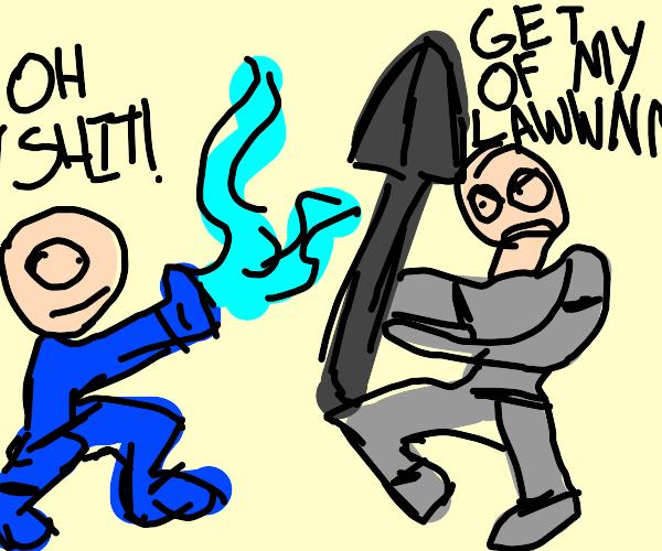 happy shovel man vs angry waterbender