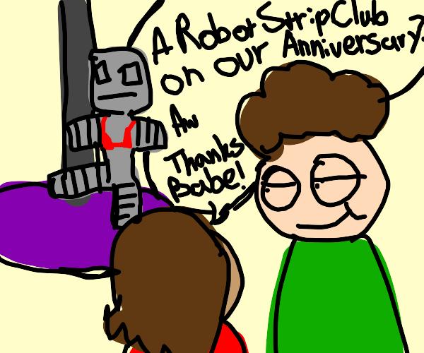 a mecha robot pole dancing