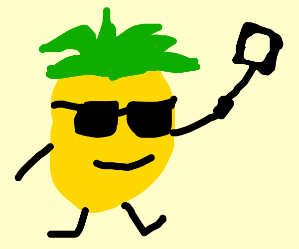 Pineapple taking a selfie with a selfie stick