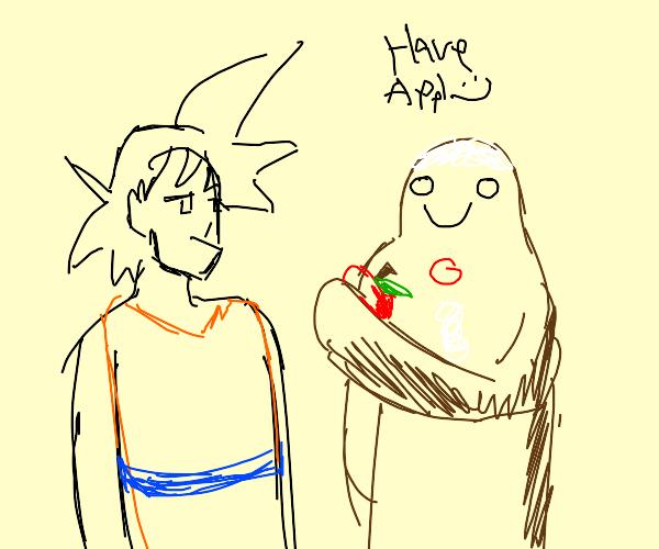 Cookie Man hands Apple to Goku