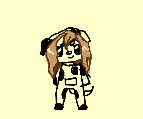 Person in a dog suit