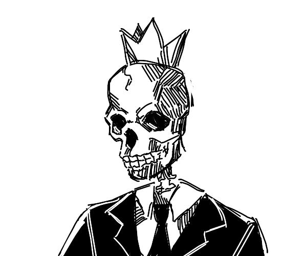 Skeleton king in suit