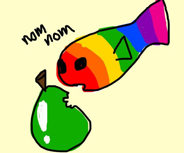 a rainbow fish eating a pear