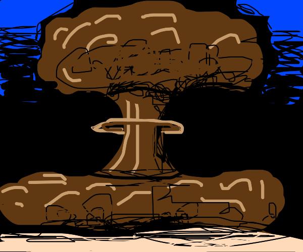 nuke drops makes mushroom cloud