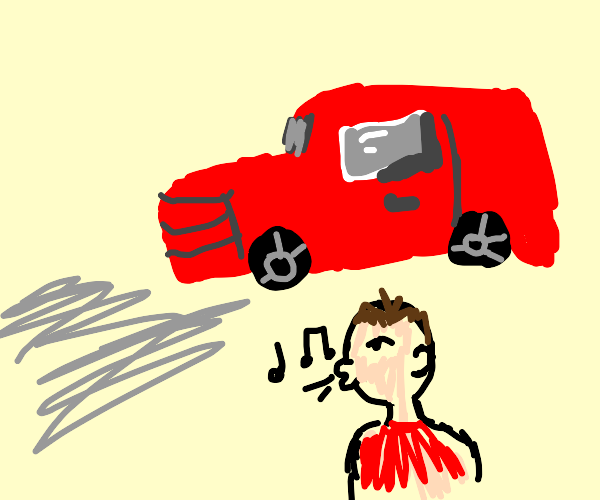 man whistling by a car