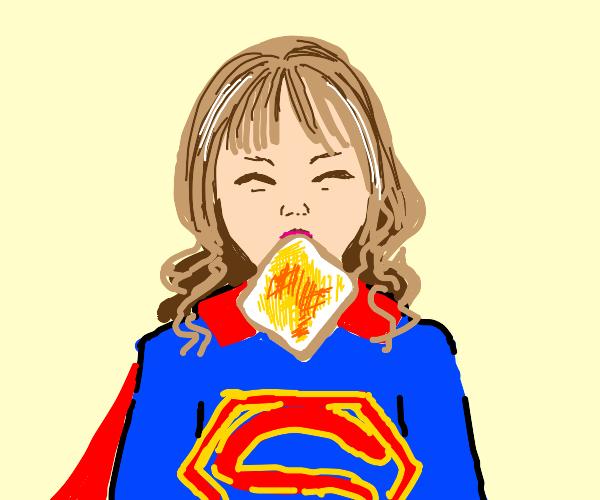 supergirl eating toast? wtf