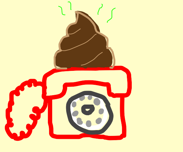 Red Rotary Telephone with Poop on top