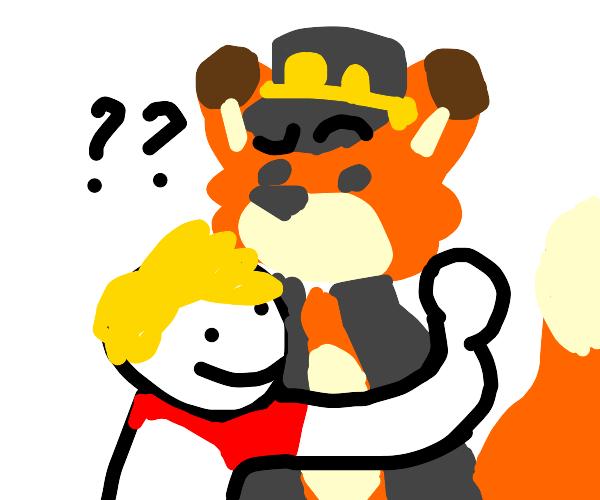 Small child hugs furry