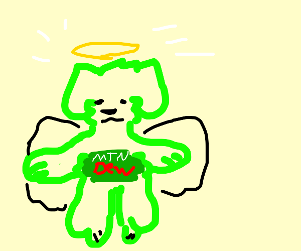 angelic dog made of mountain dew