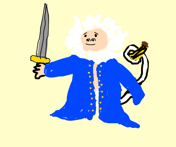 White haired monkey in blue coat with sword