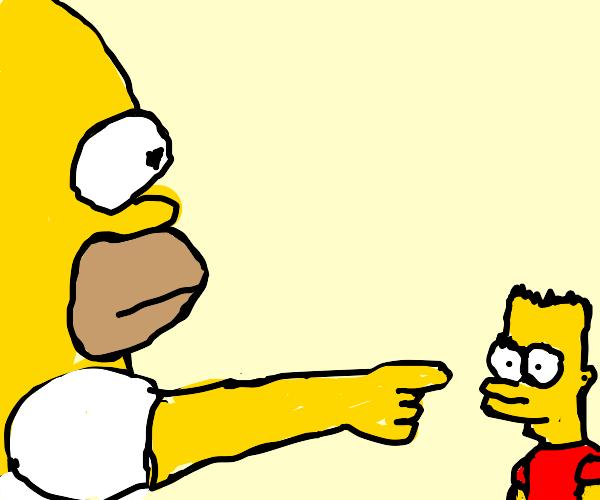 Bart Simpson in the corner