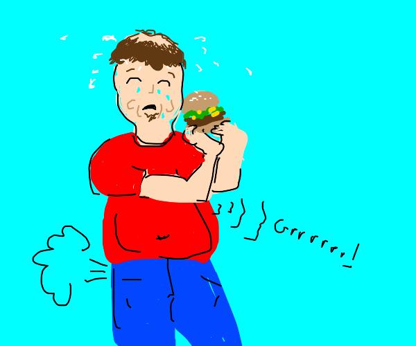 Burgers make a man suffer