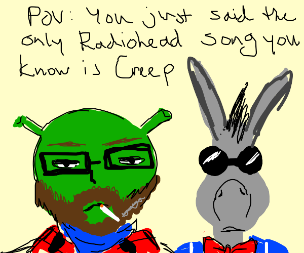hipster shrek and donkey