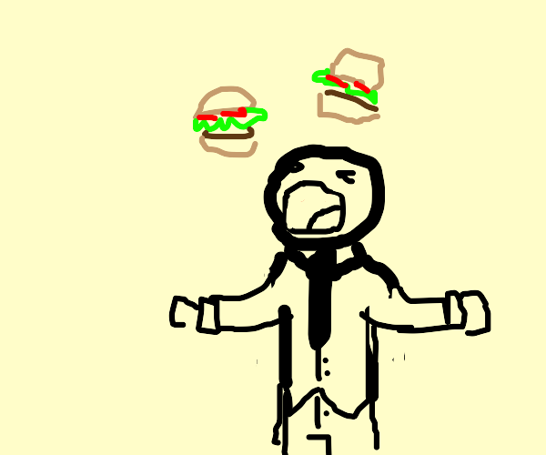 Man catching hamburgers in his mouth