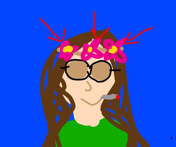 Flower crown on hippie head