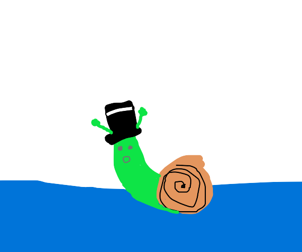 Snail with a hat on water
