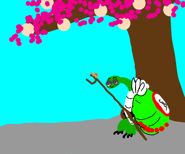 Master Oogway sits under his peach tree