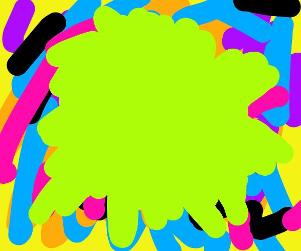 green splatter on colorful background