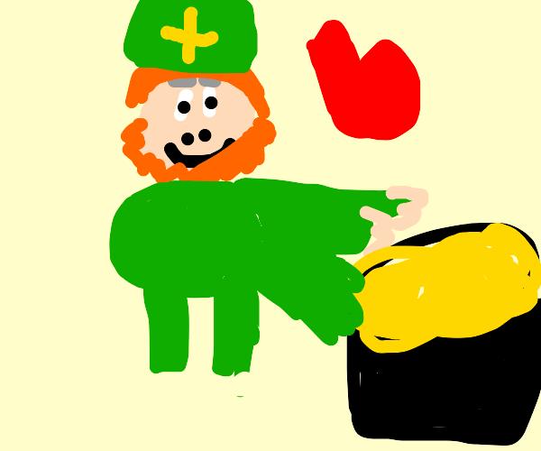 Leprechaun Hugs his gold