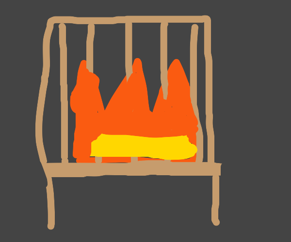 fire sitting on a chair