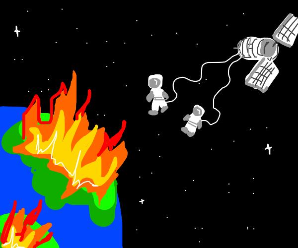two astronauts watch the world burn