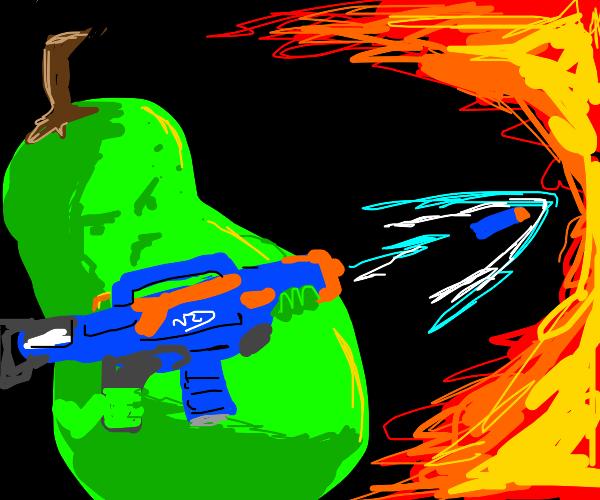 Pear with a nerf gun