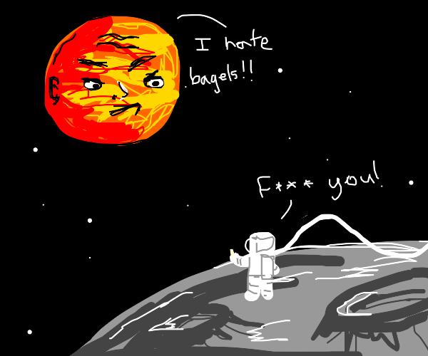 Man swears at planet