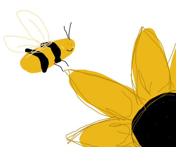 Cute bee next to flower