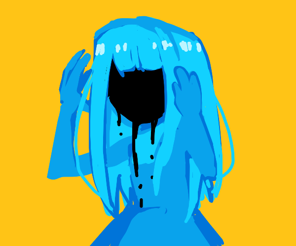 Blue girl with a Void for a face