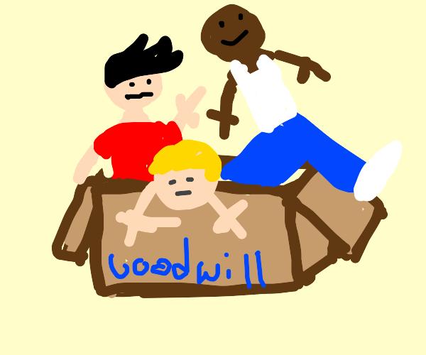 Three guys crammed into a box
