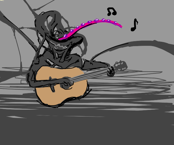 Creature playing the guitar