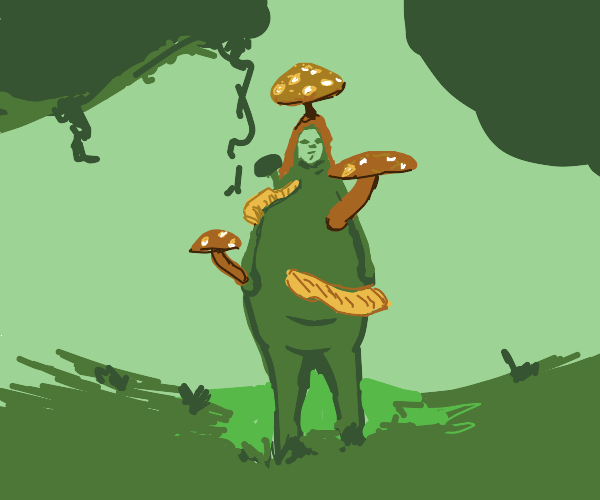 Fat lady with mushrooms growing on her