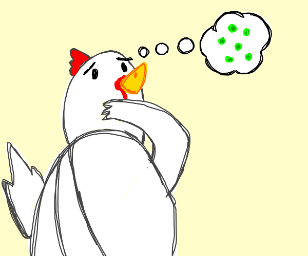 chicken thinking nervously about seed