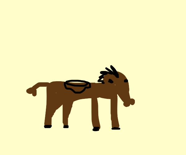 Just a brown horse with a saddle