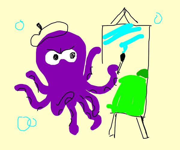 Octopus Painting a LandScape